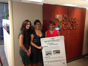 Angela Kirleis, The Wellness Council and Amanda Stein, Schroeder Solutions award Mary Starr of The Starr Group as the first finalist of the Work Well Giveaway!