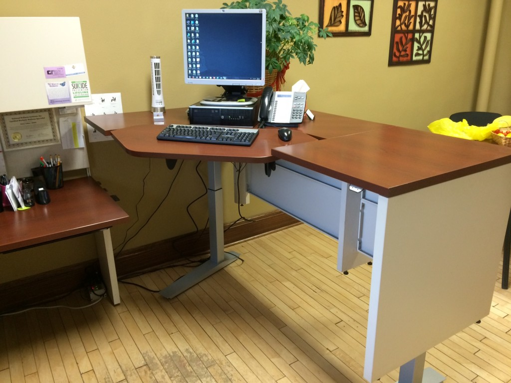 For Patti Leiker at Lawrence University, we installed the height adjustable base right onto her existing office furniture, creating an instant height-adjustability!