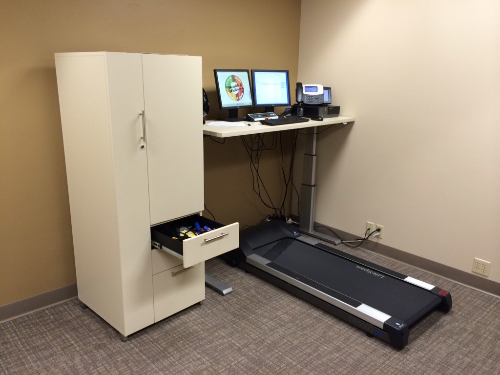 At the Starr Group, Mary Starr decided to create a treadmill area for the entire office to share.  She purchased the Lifespan treadmill desk through us and received the height-adjustable table and storage unit as part of her prize.  You can see they use the storage cabinet for other activity  items, like jump ropes.
