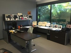 Pictured: Cory Pederson's height-adjustable Teknion private office.